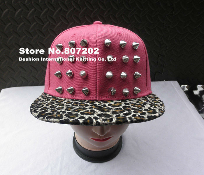 2014 Womens Punk Rock Rivets studded hat Spikes hat unisex Baseball Caps black golden hiphop hip hop flat leopard print hats-in Baseball Caps from Apparel & Accessories on Aliexpress.com