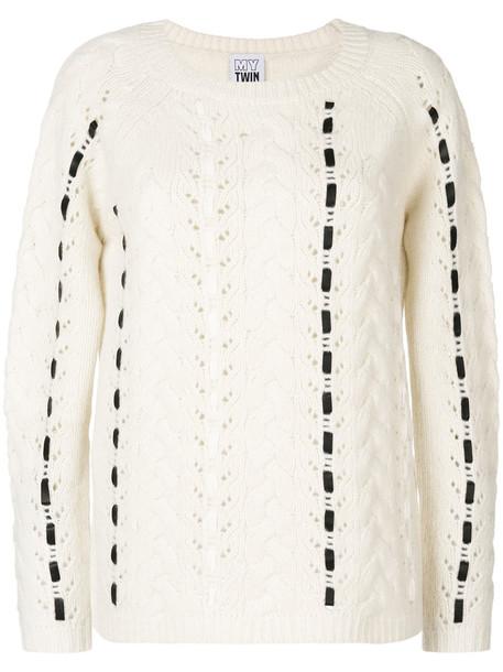 sweater women white wool knit