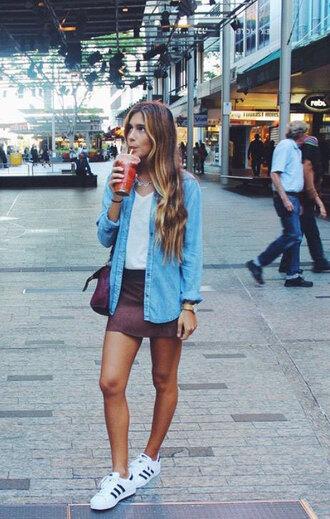 shoes blue blazer white shirt burgundy skirt adidas shoes blogger