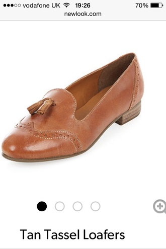 loafers leather shoes brown leather boots brogues boots detail. new look flats pattern size5 small tassel