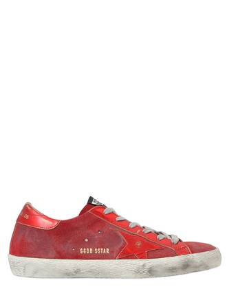 sneakers leather suede red shoes