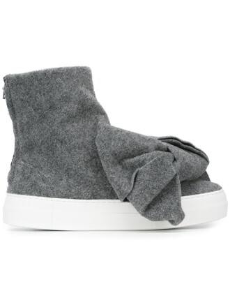 bow oversized boots grey shoes