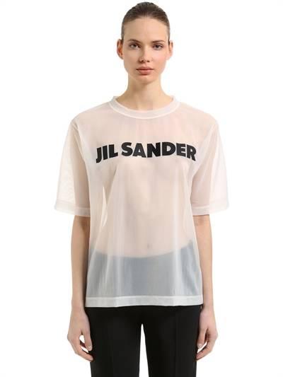 JIL SANDER, Oversized logo print sheer nylon t-shirt, White, Luisaviaroma