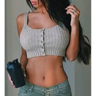tank top crop tops sexy curvy crop gym selfie rose wholesale chic tumblr fashion instagram weheartit top grey knitwear