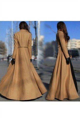 coat camel coat full length coat boyfriend coat trench coat removable skirt stand up collar www.ustrendy.com