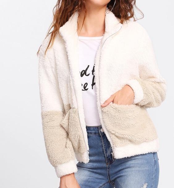 jacket girly fur fur coat fur jacket white comfy zip zip-up zip up jacket