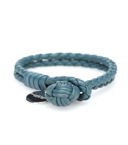 Bottega Veneta Knot intrecciato leather bracelet in green