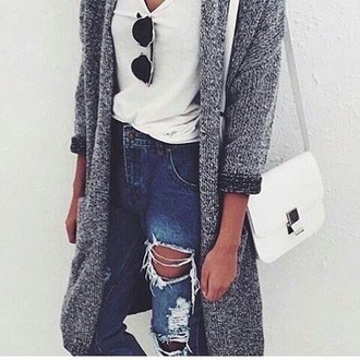 cardigan grey long jeans jacket cool girl style cute cardigan tumblr ripped jeans tumblr outfit cute outfits aesthetic grey cardigan pants shirt sunglasses
