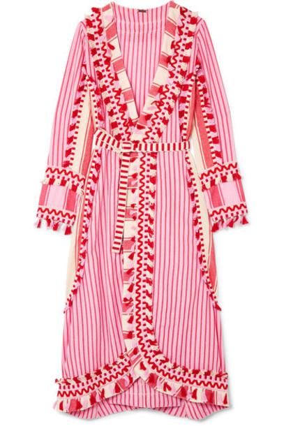dress wrap dress cotton pink