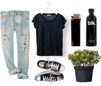 shirt ripped jeans boyfriend jeans black converse blk. lighter plants pants shoes