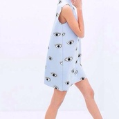 dress,zara,blue,eye,blue dress,printed dress,print,tumblr,eyes,kenzo,shift dress,highneck,baby clothing,fashion,home accessory,duck,knife,plushee,toy