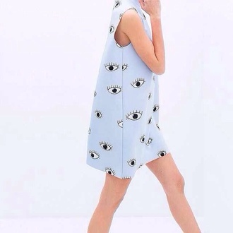 dress zara blue eye blue dress printed dress print tumblr eyes kenzo shift dress highneck