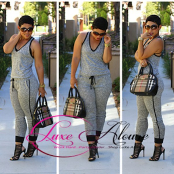 jumpsuit grey loose sleeveless sleeveless jumpsuit
