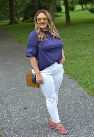 mommyinheels blogger top jeans shoes sunglasses bag plus size loafers shoulder bag white pants