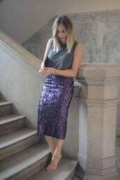 skirt,winter date night outfit,date outfit,midi skirt,sequin skirt,purple,sequins,top,grey top,sandals,sandal heels,high heel sandals,nude sandals