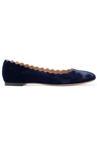 ballet scalloped flats ballet flats blue velvet shoes