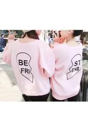 sweater,bff,trendy,pink,cool,girly,best friend shirts,bff shirts,light pink,friends,beautiful halo