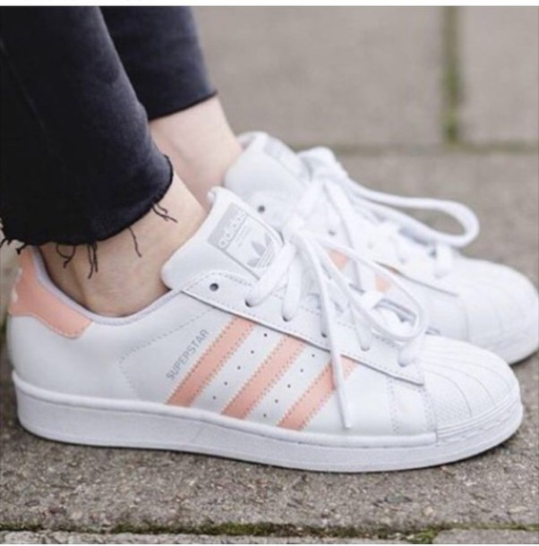 shoes, adidas, adidas superstars, adidas shoes, rose gold, white - Wheretoget