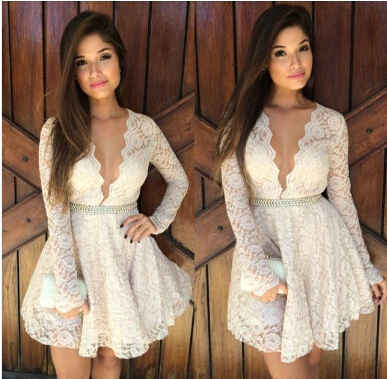 Sexy long sleeve mini dresses 2014 summer new fashion women deep v neck white lace crochet dress vestido floral