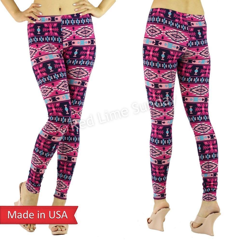 New Women Fuchsia Pink Color Tribal Aztec Ethnic Print Leggings Tights Pants USA