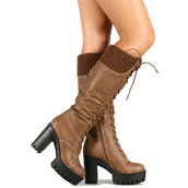 shoes,heels,boots,high heels boots,lug sole,camel boots,camel,black soles,knee high boots