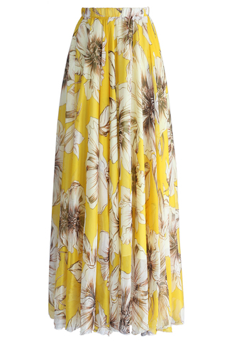 skirt marvel floral maxi skirt in yellow chicwish maxi skirt yellow skirt floral skirt summer skirt party skirt beach party skirt chicwish.com