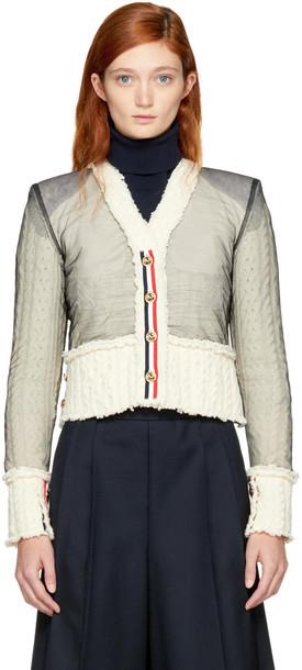 Thom Browne cardigan cardigan white off-white sweater