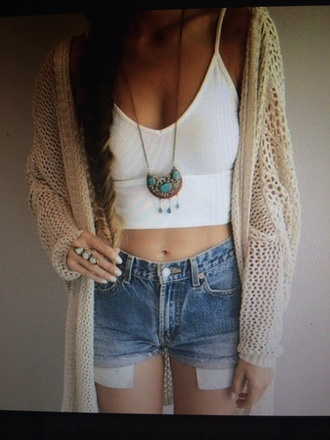 cardigan cream crochet brandy melville tumblr outfit