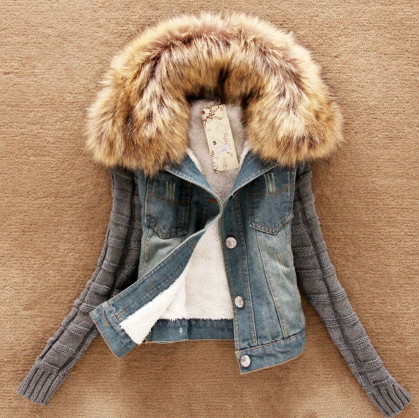 Fur collar denim outerwear