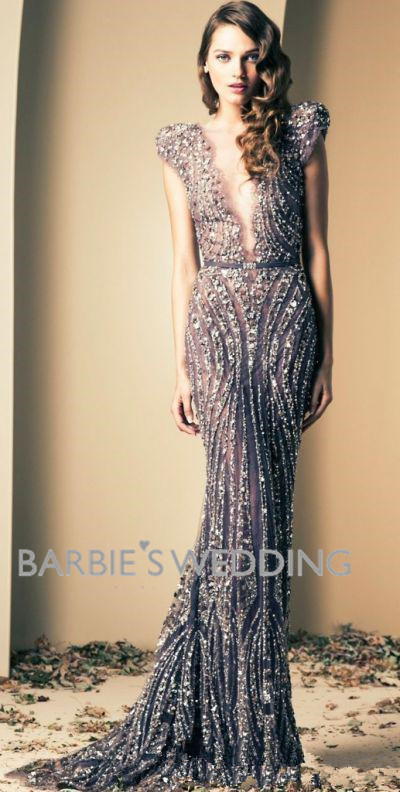 Wholesale 2014 Ziad Nakad Luxury Mermaid Evening Gowns Prom Dresses Vintage Plunging Beaded Appliques-in Evening Dresses from Apparel & Accessories on Aliexpress.com | Alibaba Group