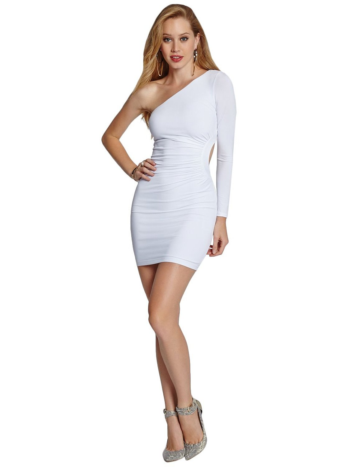 Shoulder solid cutout dress at amazon women's clothing store: