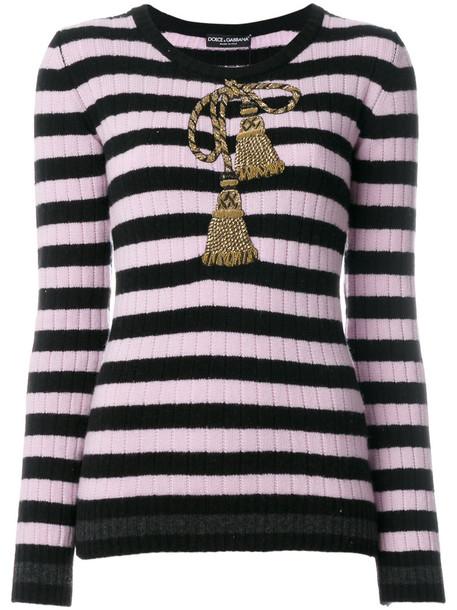 Dolce & Gabbana top striped top embroidered metallic tassel women spandex black wool