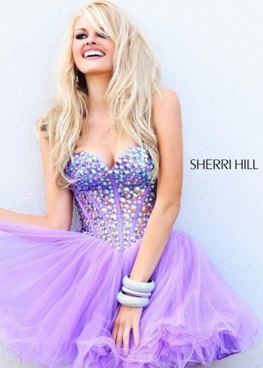 Purple short rhinestone beaded corset top tulle prom dress [sherri hill 21101 purple]