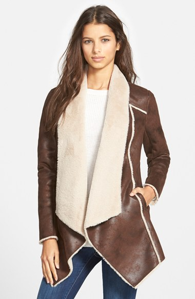Faux Shearling Drape Front Coat | Nordstrom