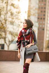 scarf,red plaid scarf,beige vest,grey skirt,red velvet boots,blogger