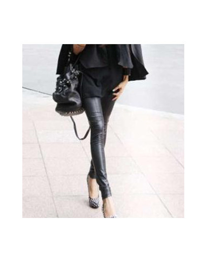Leather leggings with detail