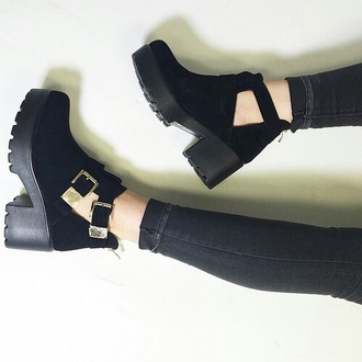 shoes black cut out boots boots lug sole low heels buckles mid heel boots