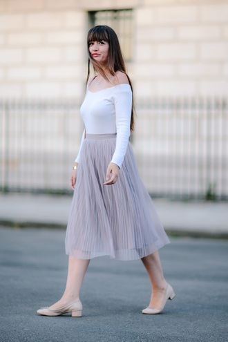 meet me in paree blogger skirt shoes pink skirt mesh off the shoulder white top long sleeves high waisted nude heels off the shoulder top midi skirt pleated skirt violet skirt flats ballet flats nude shoes white off shoulder top