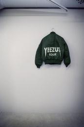 jacket,yeezus,bomber jacket,green