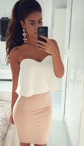 blouse,crop tops,white,flowy,beige,top,skirt,nude,pencil skirt,pink