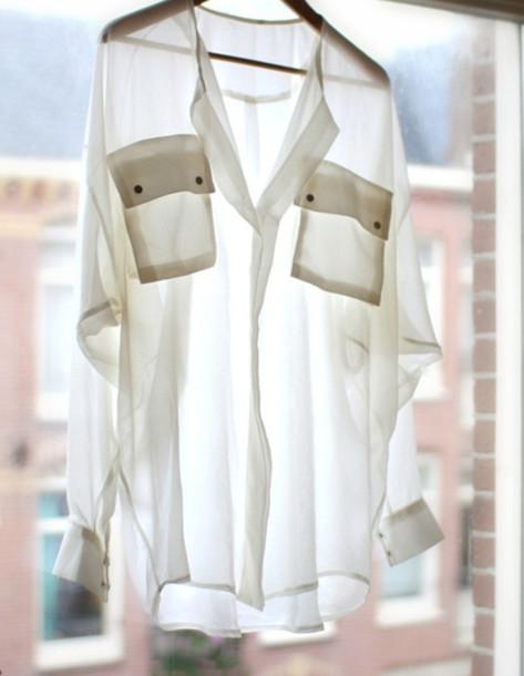 transparent white shirt pockets shirt