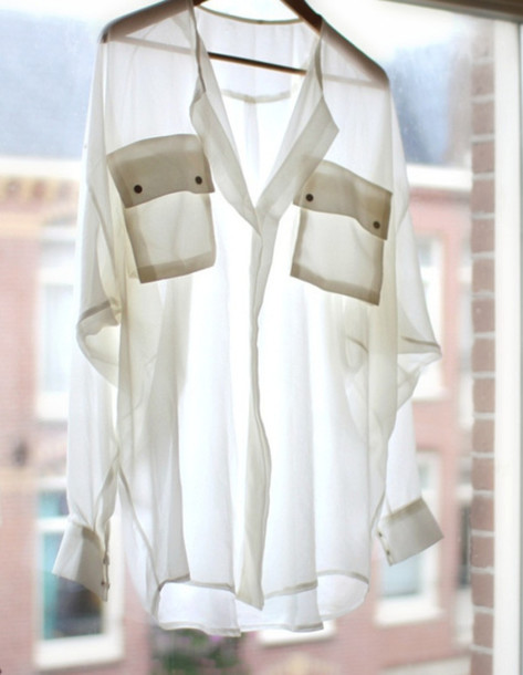 transparent white shirt pockets
