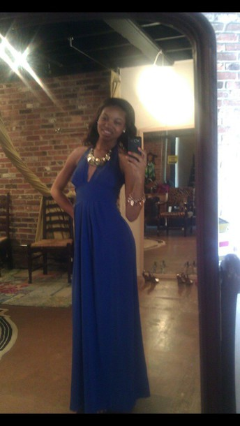 dress royal blue; plunge neckline