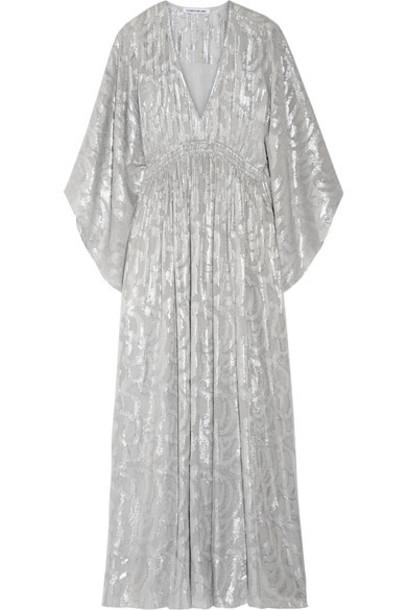 Elizabeth and James dress maxi dress maxi metallic silver silk