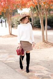 polishedclosets,blogger,skirt,sweater,shoes,hat,bag,fall outfits,over the knee,thigh high boots,red bag,white sweater,mini skirt