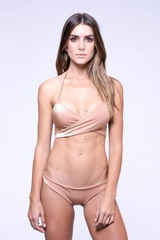 top bikini top dbrie swim halter top neutral tan bikiniluxe