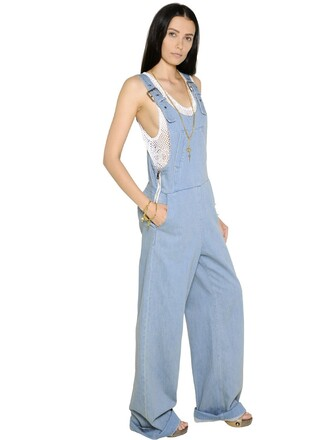 overalls denim overalls denim cotton blue jumpsuit