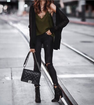 top green top tumblr cardigan black cardigan jeans black jeans ripped jeans black skinny jeans skinny jeans bag black bag boots black boots ankle boots lace up boots necklace crescent pendant jewels jewelry gold jewelry
