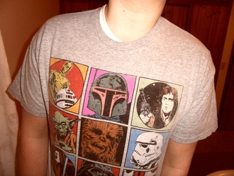 star wars bobba fett r2d2 t-shirt han solo stormtrooper chewbacca wookie yoda darth vader obi-wan kenobi george lucas movie drawings sex grey t-shirt brown t-shirt blue t-shirt red t-shirt green t-shirt pink t-shirt yellow t-shirt