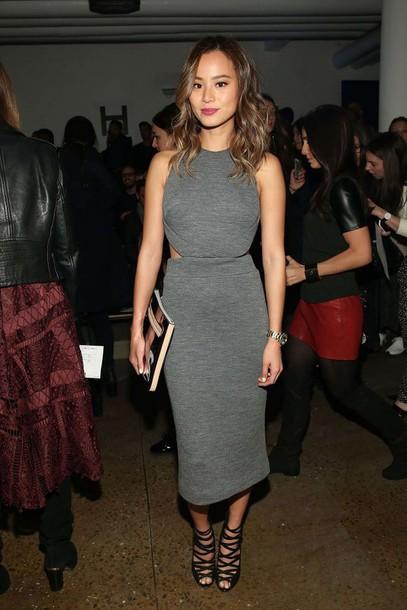 dress jamie chung grey sandals fashion week 2015